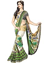 Shree Bahuchar Creation Women's Chiffon Saree(Skb18, Green and Black)