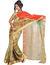 Exotic India Golden-Olive Saree with Digital-Printed Sparrow on Anchal - Green