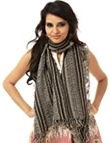 Exotic India Womens Viscose Scarves ,Black ,Free Size