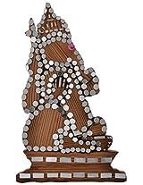 e-STORE Wooden Ganesha Idol (12 cm x 6 cm x 1 cm, Beige)