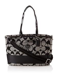 Coach Signature Stripe Baby Bag, Black