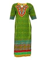 Vinorisa Girl's Cotton Regular Fit Kurti (Green, 46)