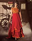Priyanka Chopra Red Georgette Top With Santoon Dupatta & Chiffon Dupatta Resham & Sequincs Embroidery Work Anarkali Salwar Kameez Suit