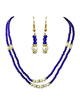 Surat Diamonds 2 Line Blue Stone & White Shell Pearl Necklace & Earring Set for Women (SN693)