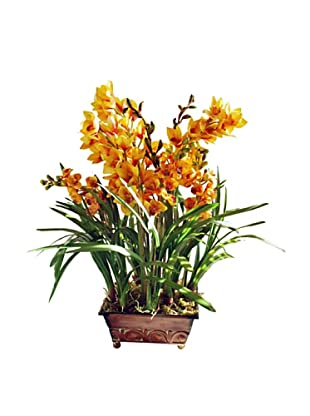 Winward Medium Gold Faux Orchid in Planter, Gold