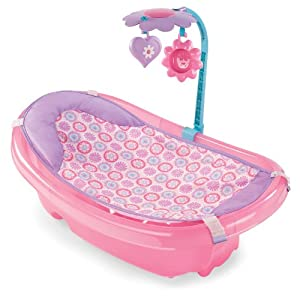 Summer Sparkle Fun Newborn-to-Toddler Baby Tub with Toy Bar Pink