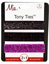 Mia Tony Hair Ties Glitter, Black/silver, Pink