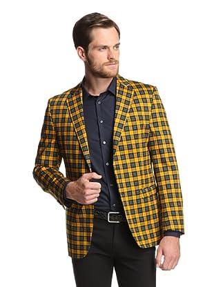 Simon Spurr Men's Plaid 2-Button Sportcoat (Yellow/Green)