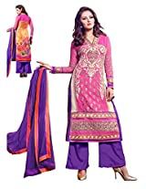 Look & suitable Pink & purple coloured Un stiched Dress material