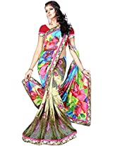 Shree Bahuchar Creation Women's Chiffon Saree(Skb17, Rainbow)