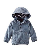 Baby B'Gosh Boys Blue Henley Long Sleeve Hoodie With Kangaroo Front Pocket