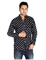 Designer Cotton Designer Leaves Black Casual Shirt By Rajrang