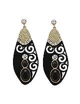 Kalaplanet Fashion Black Classic Flower Big Water Drop Earrings