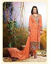 Orange Embroidered Georgette Designer Anarkali Suits