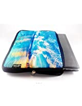 Devarshy Limited Edition Digital Printed & Quilted 17 Inch Laptop Sleeves - Blue Water Scape