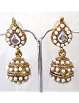 White Leaf Pearl Jhumki Earrings