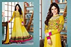 Neha Sharma Long Floor Length Yellow & Pink Georgette Top With Santoon Dupatta Resham & Heavy Zari Embroidery Work Unstitched Anarkali Salwar Suit