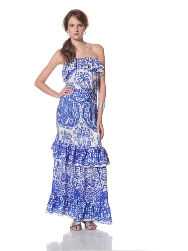 COLLETTE BY COLLETTE DINNIGAN Women's Strapless Ruffle Maxi Dress (Sea Blue)