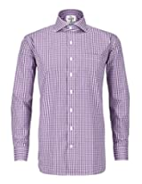 Purple Gingham Full Sleeve Regular Fit 100% Cotton Shirt (PG11FS38_Purple_S)