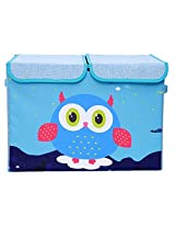 UberLyfe Blue Double Flap Kids Storage Box with Blue Owl - Large