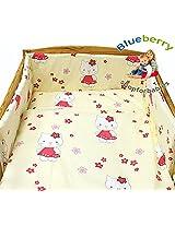 "Blueberry Shop Baby Toddler Junior Bed Cot Bumper 14"" X 59"" (35Cm X 150Cm) Cream Kitty"