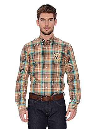 Polo Club Camisa Hombre Checks (Marrón / Turquesa)