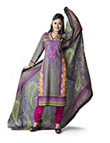Rajnandini Women's Grey & Maroon colour pure cotton Printed Unstitched salwar suit Dress Material (Free Size)