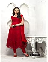 MF Retail Women's Semi Stitched Anarkali Suit (Red_XL)