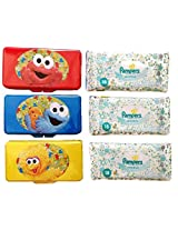 Sesame Street Travel Cases with Big Bird, Elmo, Cookie Monster and Pampers Sensitive Baby Wipes 6-pc Set