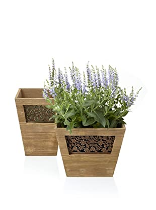 Wald Imports Set of 2 Vintage-Look Wooden Planters with Floral Metal Plate, Mocha Brown