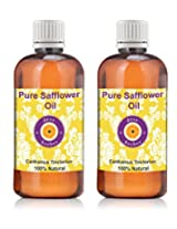 Pure Safflower Oil - Pack of Two (100ml + 100ml) Carthamus tinctorius 100% Natural Cold pressed