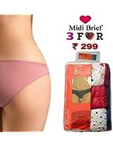 Seasons Hushh Pack Of 3 Women Midi Brief Panties B110B1103LS_Multi