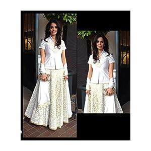 Ninecolours LD0400097 Mallika Sherawat Lehenga - White