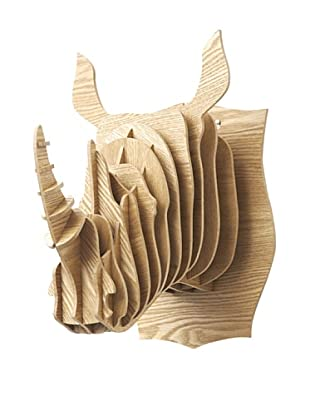 Eco Décor Laser-Cut Animal Trophy Rhinoceros Head, Oak