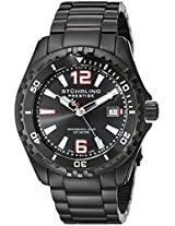 Stuhrling Original Men's 382.335B1 Prestige Swiss Regatta Captain Quartz Diver Date Black Dial Watch
