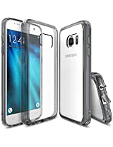 Galaxy S7 Case, Ringke [Fusion] Crystal Clear PC Back TPU Bumper [Drop Protection/Shock Absorption Technology][Attached Dust Cap] For Samsung Galaxy S7 - Smoke Black