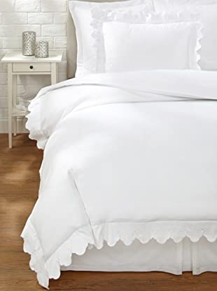 Belle Epoque Scalloped Embroidered Duvet Cover Set (White)
