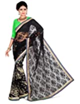 Zoom Embroidered Saree (3176_Black Green)