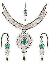 Lucky Jewellery Fabulous Green Alloy Chain Patwa set for Women (825-ISP-801-G)