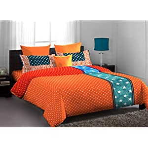 Home Expression USA Lorrian Abstract Cotton Single Bedsheet with 1 Pillow Cover - Multicolor