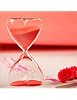 Graces Dawn Heart Shaped Glass Hourglass Red Sand 15 Minutes With Valentines Day Gift Birthday Gift
