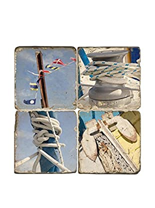 Studio Vertu Set of 4 Keys To The World  Tumbled Marble Coasters with Stand