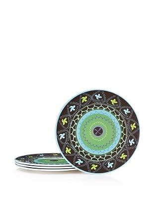 Bongenre Set of 4 Natalya Susani Plates (Green/Aqua)
