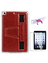 DMG Premium TPU Skin with PU Leather Hand Holder Cover Case For Apple iPad Mini / Mini 2 / Mini 3 (Red) + Touch U Silicone Stand + Matte Screen