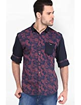 Printed Navy Blue Casual Shirt