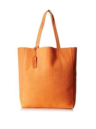 Yosi Samra Women's Ezra Reptile Tote Bag, Waxy Tangerine