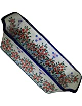 Polish Pottery Ceramika Boleslawiec 1207/282 Royal Blue Patterns 6-Cup Bread Meatloaf Baker, 12-3/4 by 5-3/8-Inch, Red Berries and Daisies