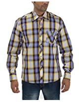 Maxx Shirts Men's Slim Fit Shirt (MX025, Purple and Yellow, 42)