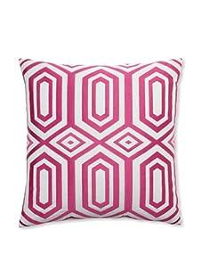 """Peking Handicraft Hexagon Embroidered Linen Pillow, Pink, 20"""" x 20"""""""