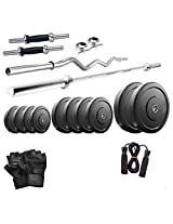 Dixon Men's Rubber & Steel 22 Kg Dumbbell Set Standard Silver & Black - DGM 18